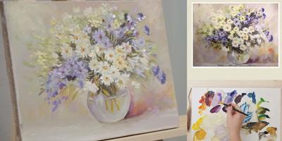 Пишем этюд «Полевые цветы» в стеклянной вазе (часть 2) - St'Art