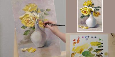 Пишем этюд «Розы в белой вазе» - St'Art