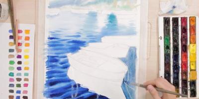 Пишем море с лодками - St'Art