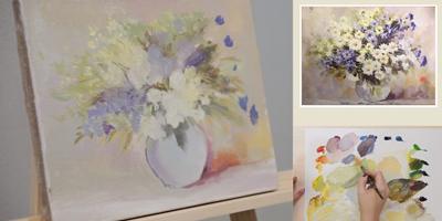 Пишем этюд «Полевые цветы» в стеклянной вазе (часть1) - St'Art