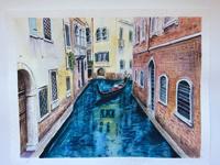 Работа ученика Наталья Шмидт по курсу Сказочная Венеция акварелью
