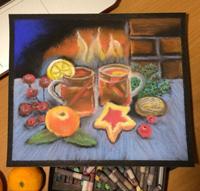 Работа ученика Таня Молева по курсу Зимнее настроение пастелью