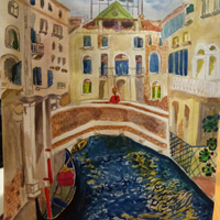Работа ученика Елена Дудина по курсу Сказочная Венеция акварелью