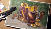 Работа ученика Виктория Кузнецова по курсу Ароматы зимы акварелью
